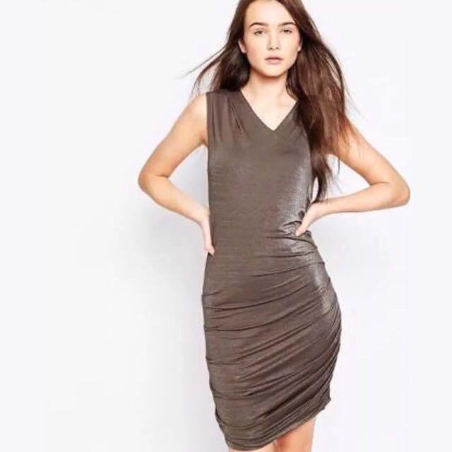 Brand New Vila V Neck Slinky Bodycon Dress Size S Small Black Olive Shimmer ASOS