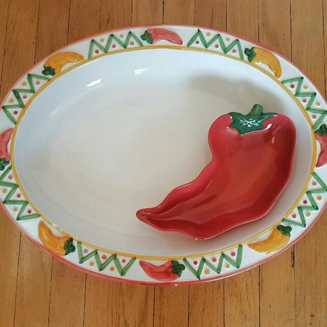 Chili Chips And Salsa Serving Platter