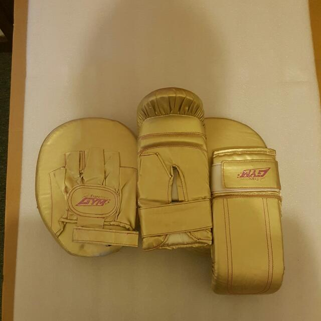 Gold Boxing Gloves And Pads
