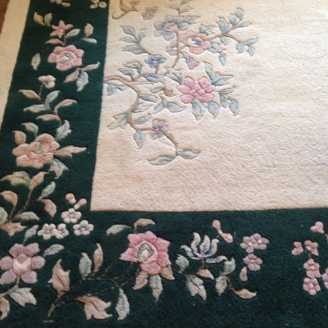 Gorgeous 9 x 12 Wool & Cotton Floral Rug Ivory & Dark Green