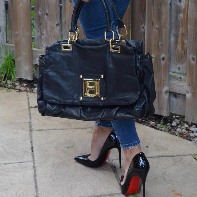 HALSTON HERITAGE Black Leather Bag $55