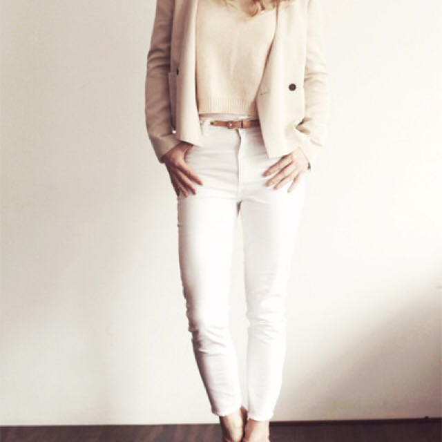 H&M White Skinny High Jeans