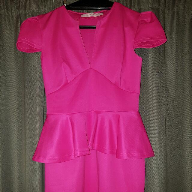 Hot Pink Peplum Dress Size 10