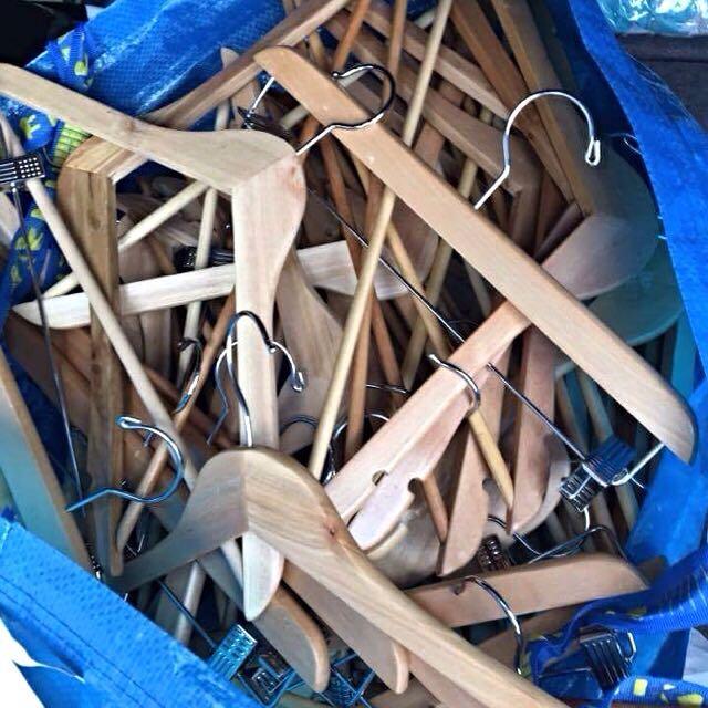 Huge Bag Of Wooden Coathangers