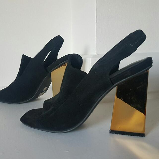 Jeffery Campbell Black And Gold Heels BRAND NEW NEVER WORN Size 38