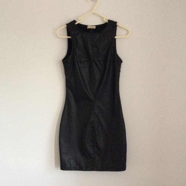 Leather Look Mini Dress Size S