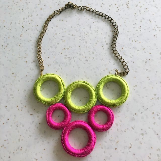 Neon Pink & Green Oversized Necklace