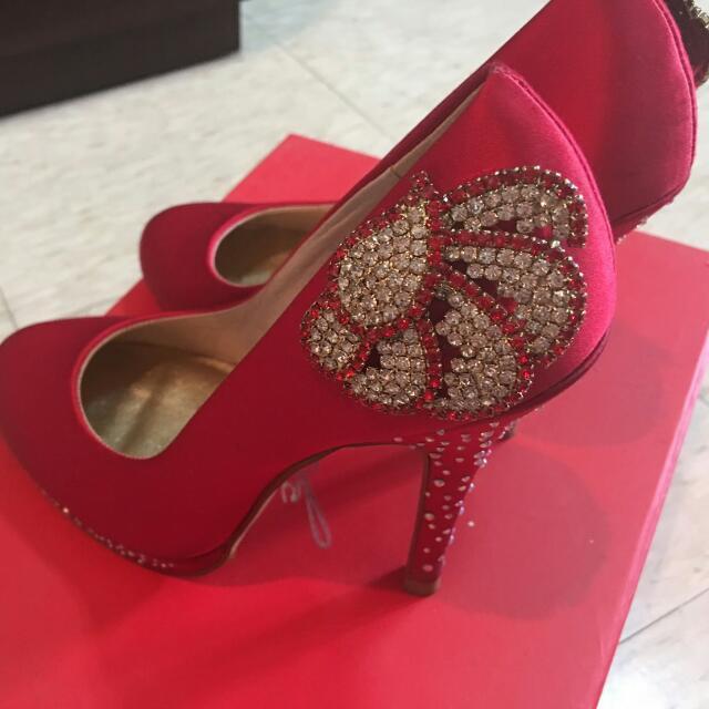 代po MYSTOCK 紅色高跟鞋 35號