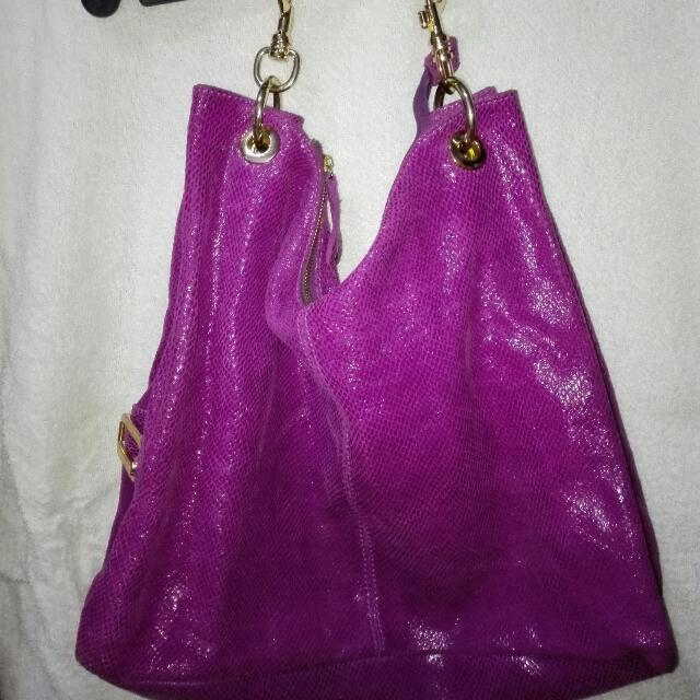 puple leather bag