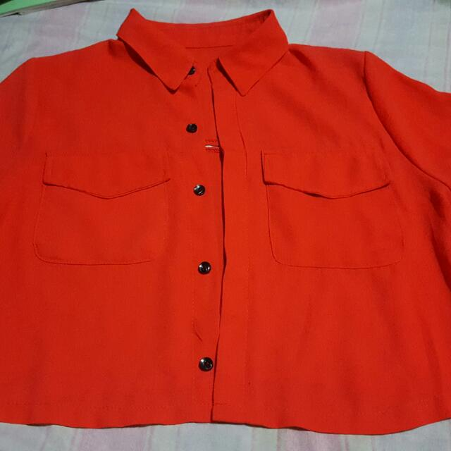 Red Orange Crop Top Polo