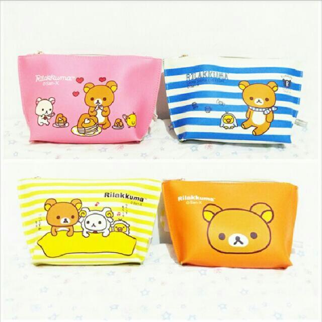 ★娃娃兵★Rilakkuma拉拉熊懶懶熊防水大容量筆袋化妝包收納包萬用包
