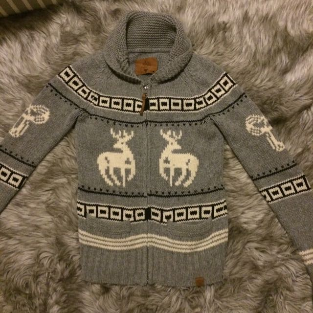 TNA 100% Lambswool Knit Zip Up Sweater