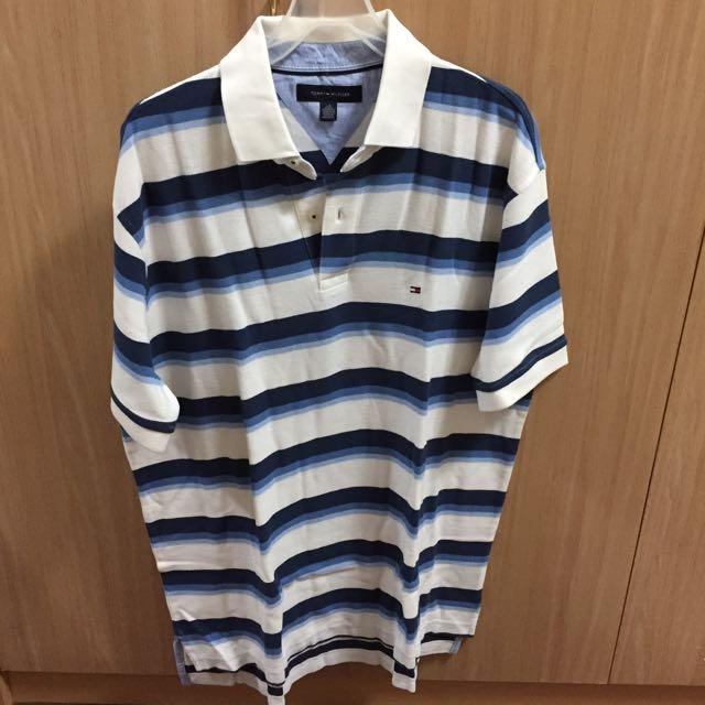 全新Tommy Hilfiger藍白條紋polo衫