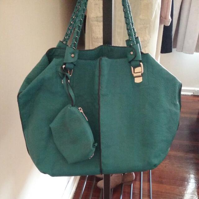 Turquoise Leather Handbag