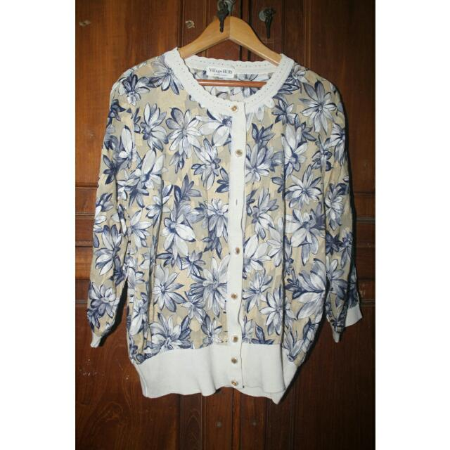 White Blue Flowery Top