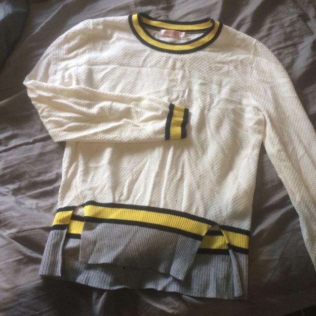 White, Grey & Yellow Jumper 8/10