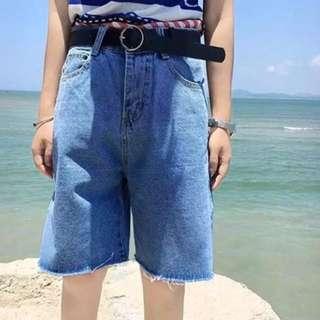 百搭寬鬆高腰五分牛仔褲
