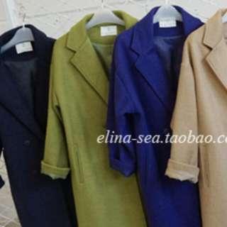 現貨 百搭 秋冬外套 寬鬆 長版毛呢外套 大衣 毛呢大衣 長版 深藍