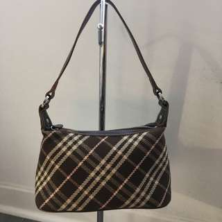 Authentic Burberry Blue Label Pink And Brown Plaid Mini Tote