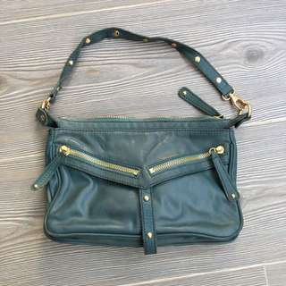 Dark Green Leather Shoulder/cross Body Bag