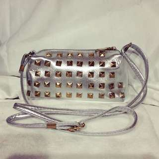 New mini size silver handbag