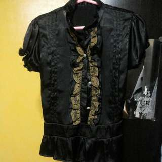Repriced - Black With Brown Ruffles Blouse