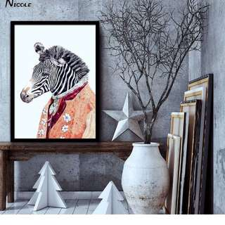 Mr Zebra Abstract Art Canvas Poster Minimalist Print Animals Picture for Modern Home Children Room Wall Decoration CX078