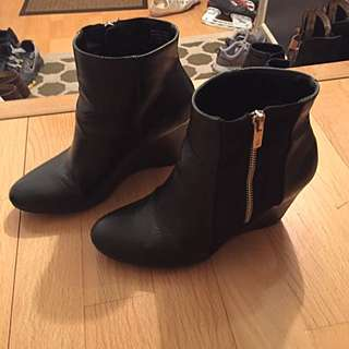 Short Black Wedge Booties