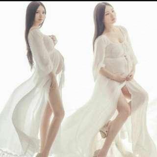 White Maternity Robe