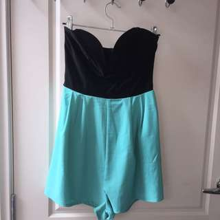 Black And Teal Play suit