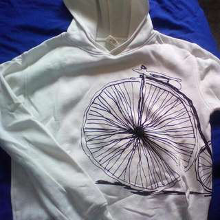 White Hoodie with Old school Bike Print, Size 10/12