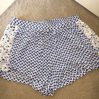 Blue High Waist Shorts