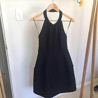 Black, High Neck halter, Backless Dress