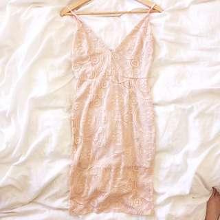 Dusty Pink Lace Dress