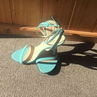 Strapped Heels, Teal