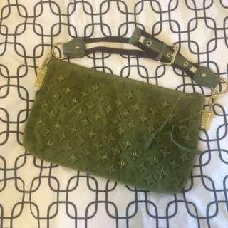 LV Green Suede Handbag