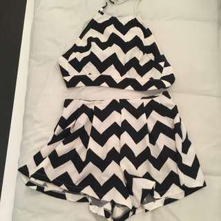 Black And White Two Piece Set