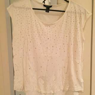 Cream Sequin Top
