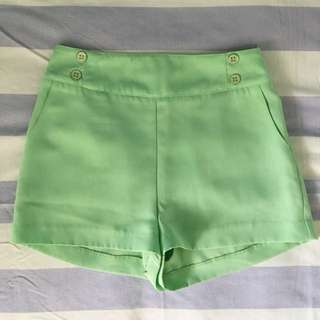 Mint Shorts With Buttons