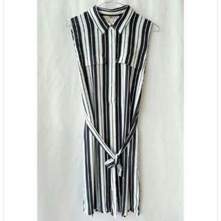 【Forever21】全新 韓劇女王款 時尚俐落直條襯衫綁帶雪紡洋裝