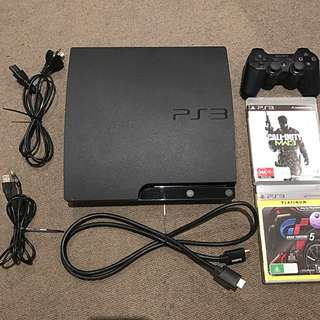 Ps3 With All Accessories/ 2 Games/