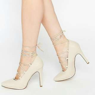 Call It Spring Lace Up Nude Heels