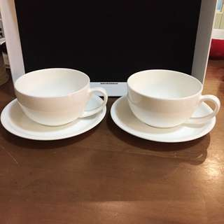 White Cup And Saucer Sets X2