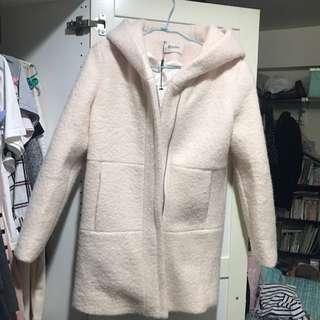 全新粉色中長大衣