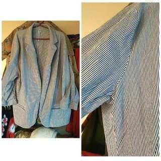 Plus Size: Black & White Stripes Blazer (Free Shipping)