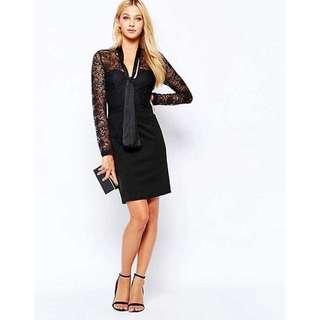 LIPSY Size 6 Black Lace Dress Tie Front