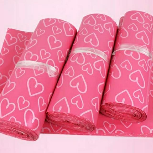 (20個)28*42粉色心型快递打包袋破壞袋
