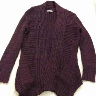 Black/wine Red Mixed Knit Thick Cardigan Size AU 8-10