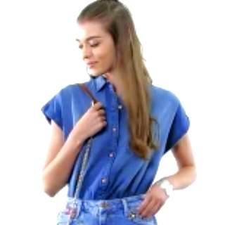 Denim Or Chambray Short Sleeved Button Down Polo