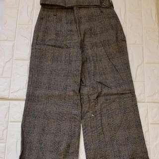 Zara 混羊毛寬版高腰長褲+毛衣外套